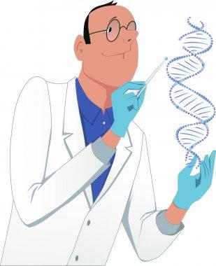 Scientist modifying a DNA molecule