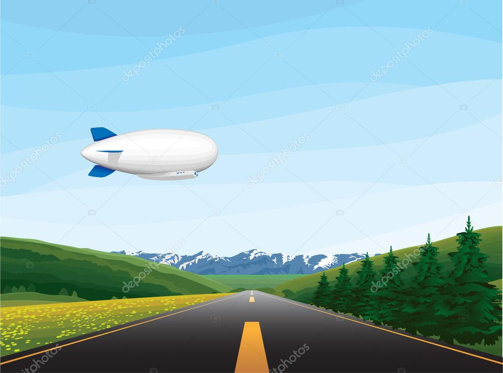 landscape with blimp