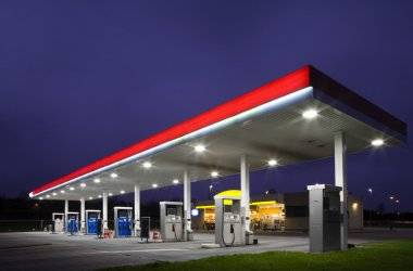 Empty gas station at night stock vector