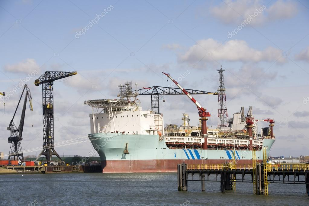 A so-called FPSO Floating Production and Storage Offloading System at a shipyard in the Port of Rotterdam