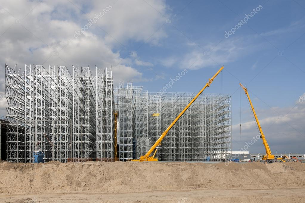 Construction site of a distribution warehouse under construction