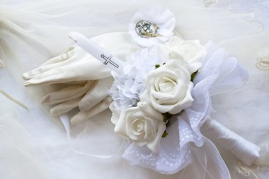 First holy communion candle gloves and medal