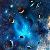 pohled na vesmír s planetami