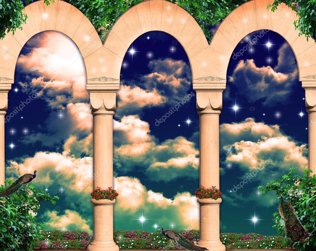 Sky behind the columns
