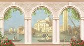 pohled z okna do Benátek.