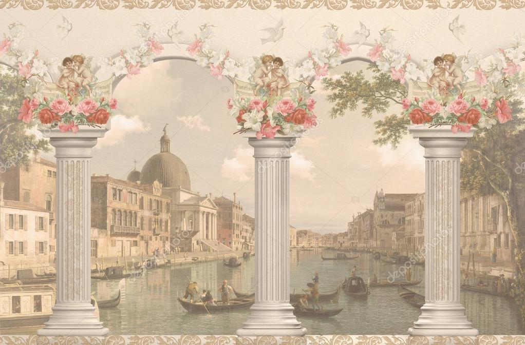 View of Venice against the columns