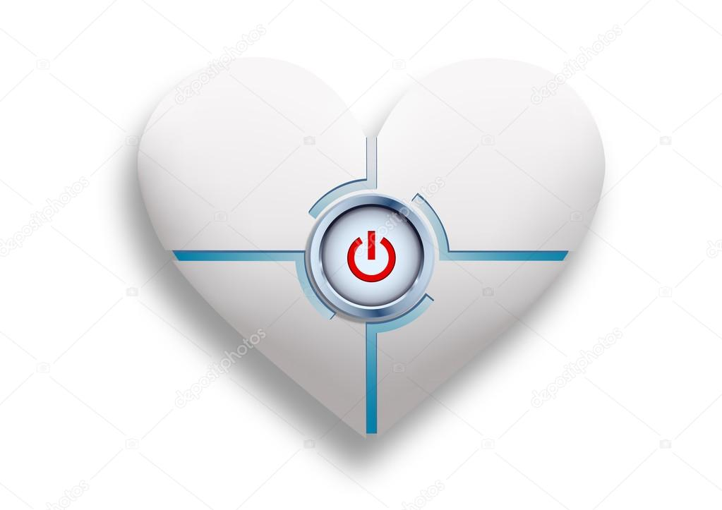 White Heart With A Button In The Middle Stock Vector Vantuz