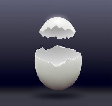 egg split in half on a dark background