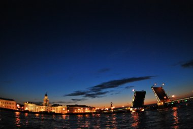 Architecture and night views of the drawbridges of St. Petersburg during the white nights of June.