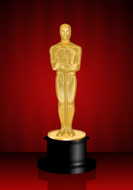 Oscar statuette on red