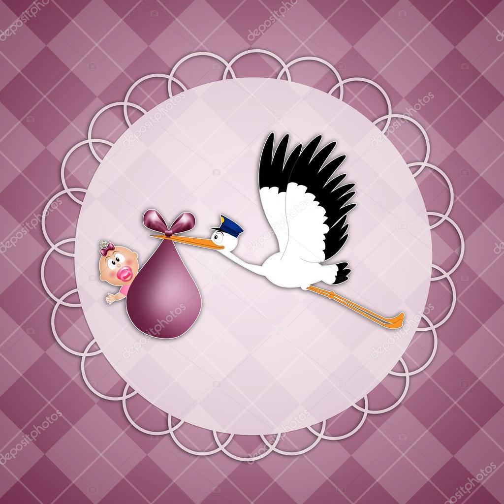 Аист с малышом картинки в круге, открытки марта