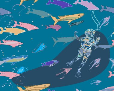 diver and sharks pattern