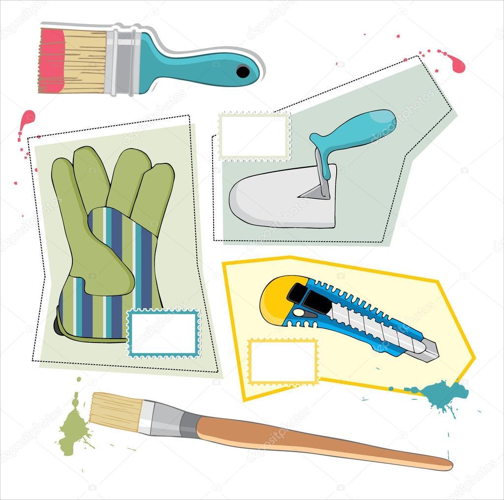 outils de peinture dessin s la main image vectorielle borkovic 19495975. Black Bedroom Furniture Sets. Home Design Ideas