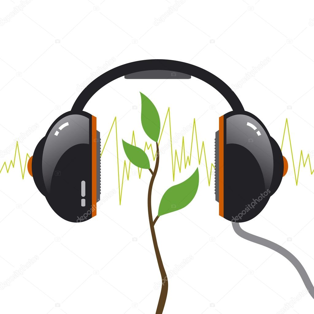 Tree with headphone. Music concept.