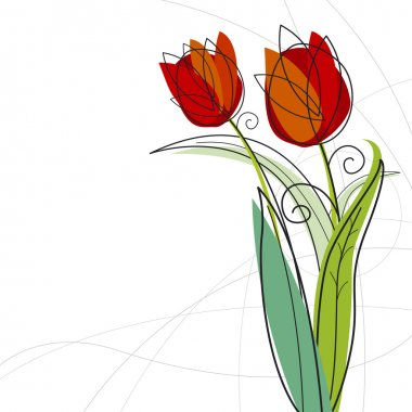 Tulip design on white background