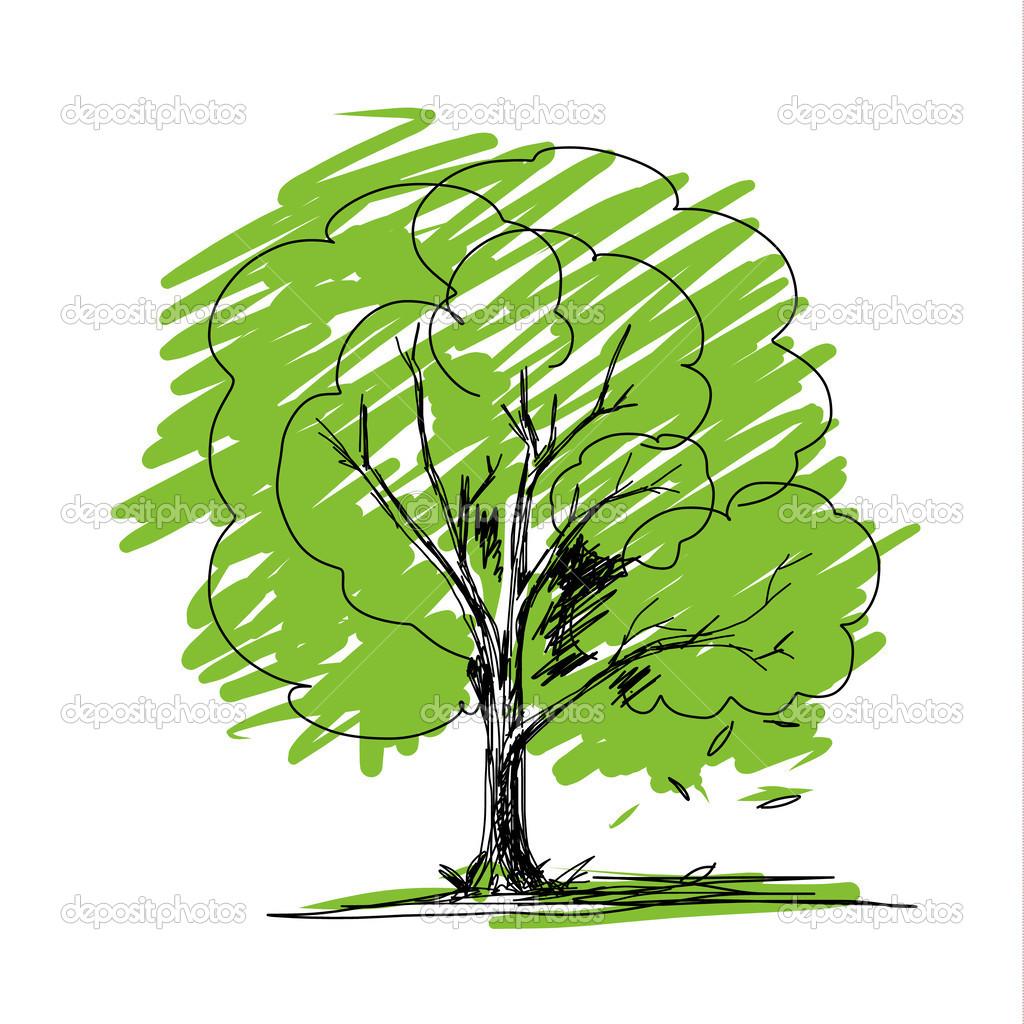 Croquis d 39 arbre vectoriel image vectorielle myimagine - Croquis arbre ...
