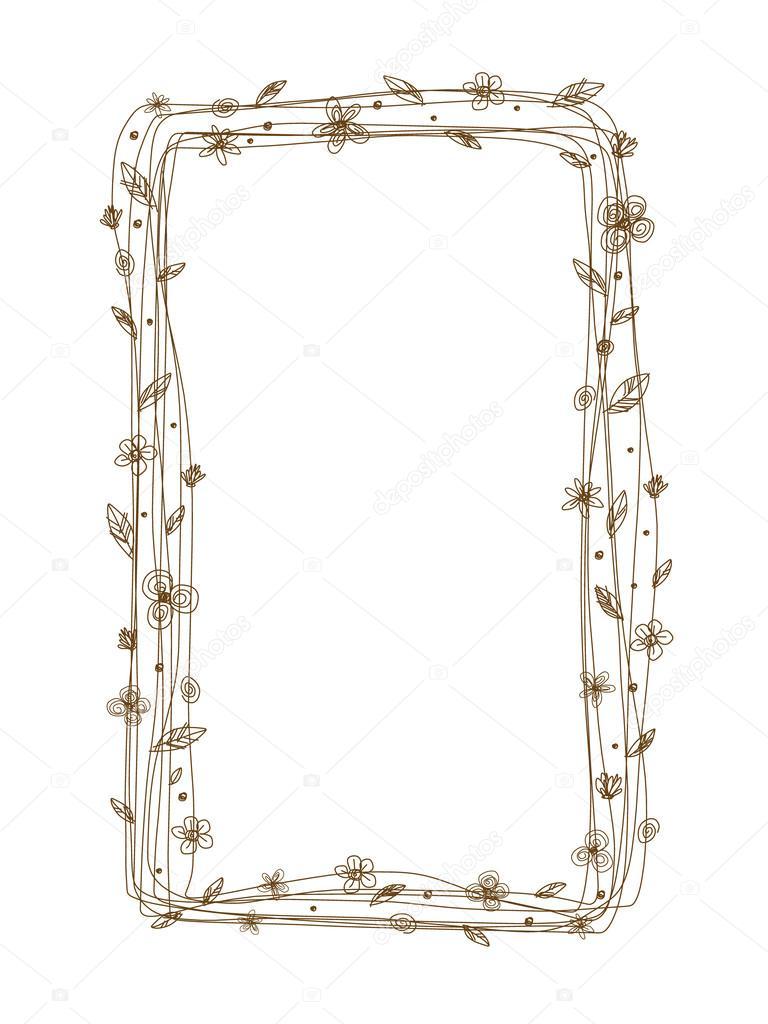 Vector diseño de marco flores sobre fondo blanco — Vector de stock ...