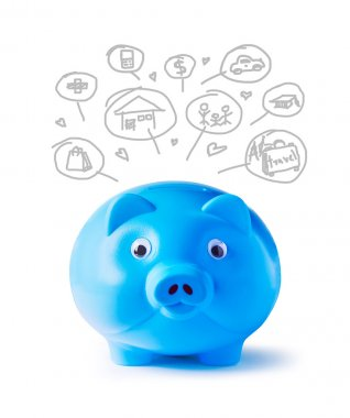 Blue piggy bank and icons design to represent the concept of saving money