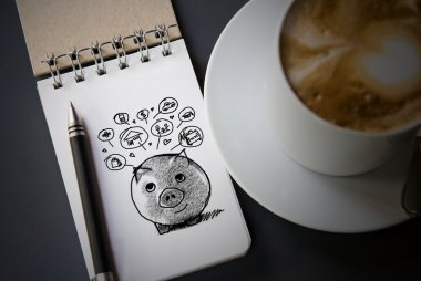Piggy bank and icons design to represent the concept of saving money