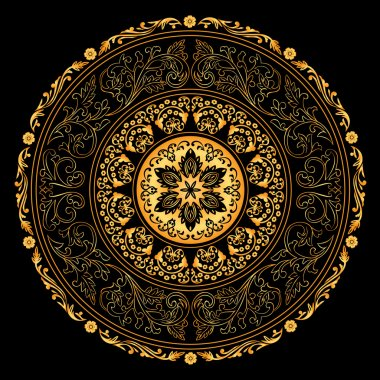 Decorative gold frame with vintage round patterns on black
