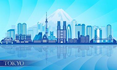 Tokyo city skyline detailed silhouette