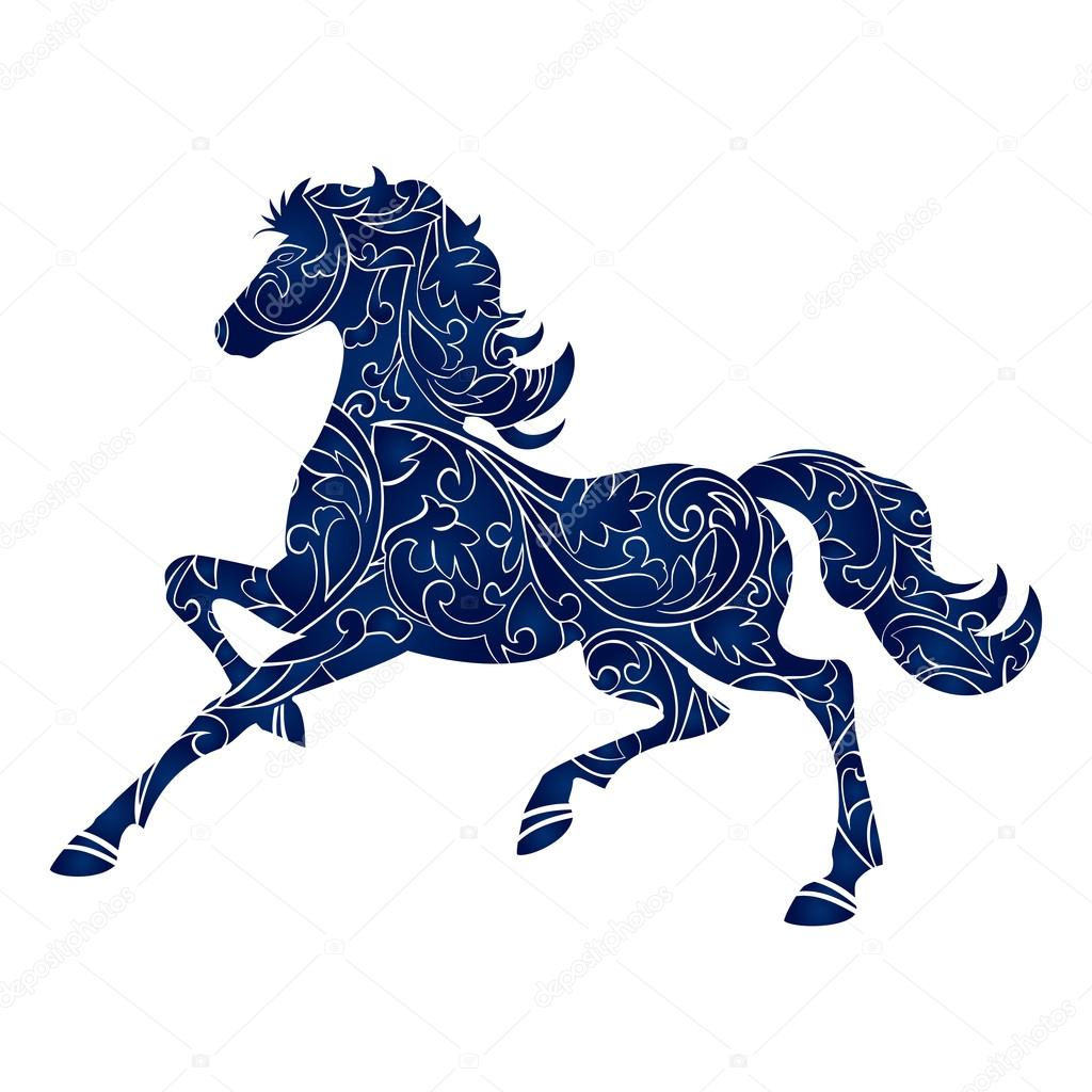 Symbol of Year 2014 blue horse, isolated icon, vector silhouette