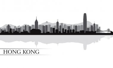 Hong Kong city skyline silhouette background