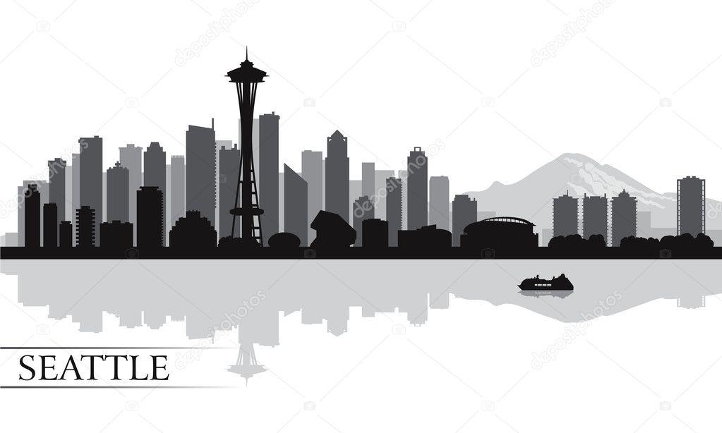 Sfondo Di Seattle Citt 224 Skyline Sagoma Vettoriali Stock