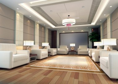 3d reception room rendering