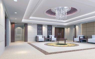 3d reception room rendering, meeting room