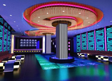 3D club hall, corridor