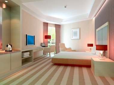 3d bedroom rendering, hotel rooms