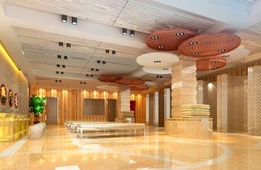 3d modern hall, corridor