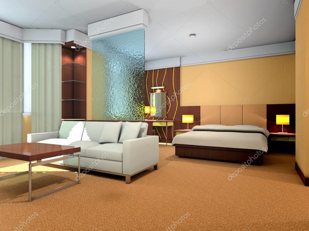 3d Sypialnia I Pokój Dzienny Renderowania Zdjęcie Stockowe