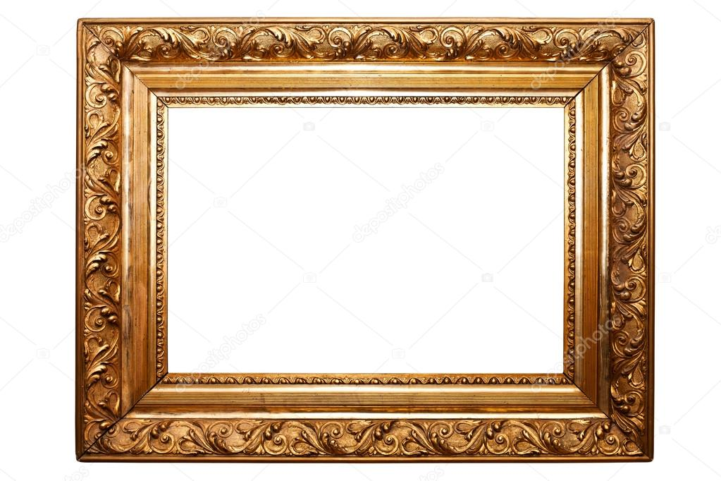 golden old frame isolated on white (clipping paths included) — Stock ...