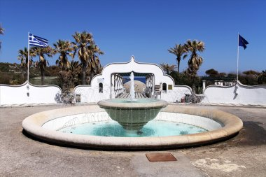 Entrance of a luxury summer resort at Kallithea, Rhodes island,