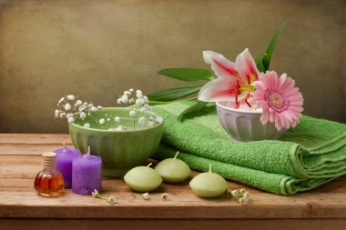 Spa concept still life with candles
