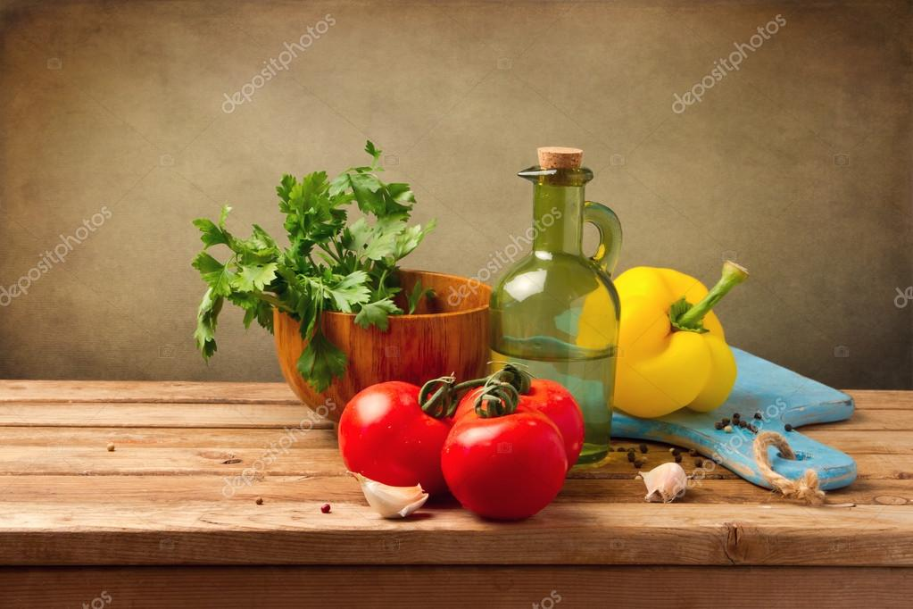 Fresh healthy vegetables on wooden table