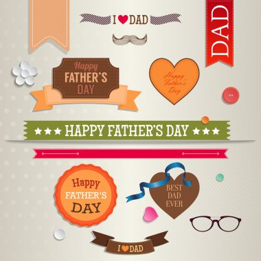 Set of vintage labels, badges and stickers for Father's day.