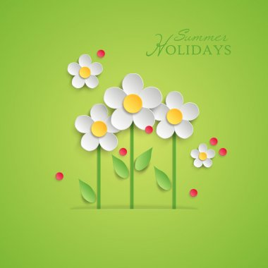 Summer floral background with paper daisy flowers.