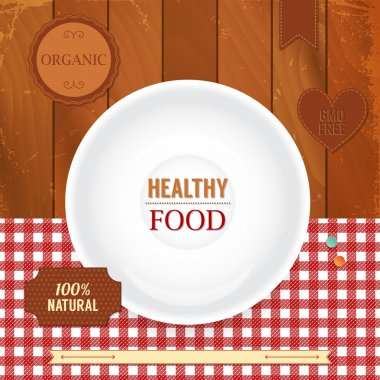 Set of retro labels for healthy food.