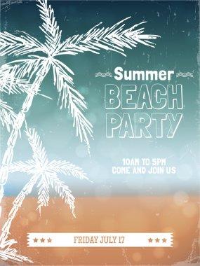 Retro summer beach party poster design.