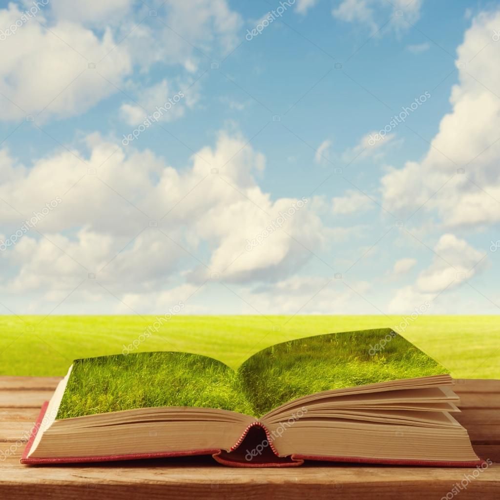 Open book with grass on wooden table over beautiful meadow and sky.