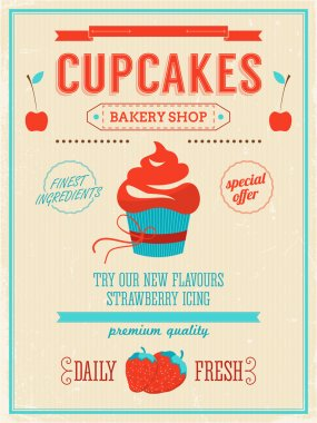 Cupcake bakery shop poster.