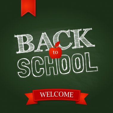 Back to school poster with text on chalkboard.