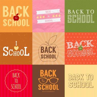 Set of back to school badges.