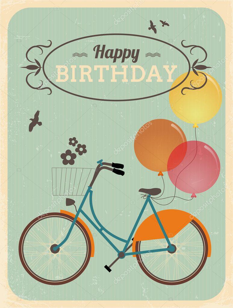 Fabuleux Carte d'anniversaire rétro avec vélo — Image vectorielle #46265333 WB34