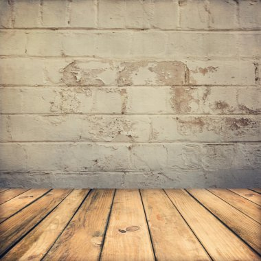 Wooden deck floor and stone grunge wall