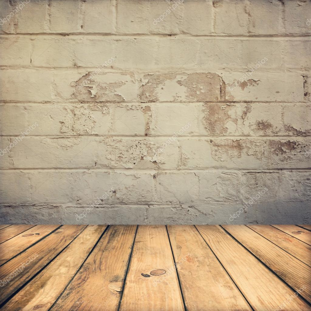 Wooden deck floor and stone grunge wall stock photo for Floor and wall