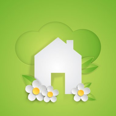 Ecology concept green background with house symbol and flowers.